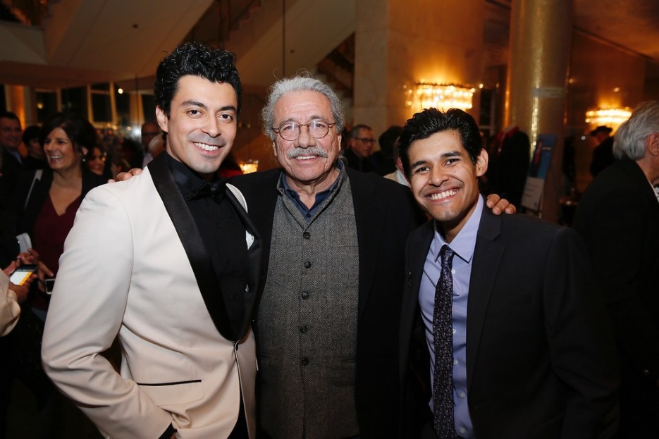 "From left, cast member Matias Ponce, actor Edward James Olmos and cast member Andres Ortiz pose at the party for the opening night performance of ""Zoot Suit"" at Center Theatre Group/Mark Taper Forum on Sunday, February 12, 2017, in Los Angeles, California. (Photo by Ryan Miller/Capture Imaging)"
