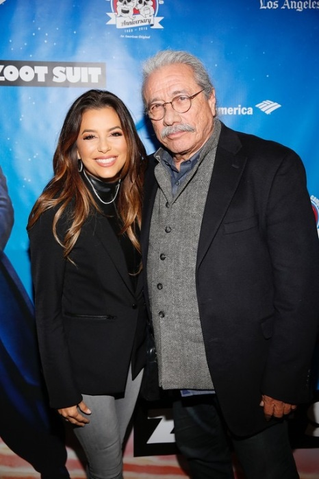 """Actors Eva Longoria and Edward James Olmos arrive for the opening night performance of """"Zoot Suit"""" at Center Theatre Group/Mark Taper Forum on Sunday, February 12, 2017, in Los Angeles, California. (Photo by Ryan Miller/Capture Imaging)"""