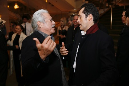 "From left, actor Edward James Olmos and cast member Demian Bichir celebrate at the party for the opening night performance of ""Zoot Suit"" at Center Theatre Group/Mark Taper Forum on Sunday, February 12, 2017, in Los Angeles, California. (Photo by Ryan Miller/Capture Imaging)"
