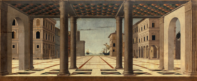 Francesco di Giorgio Martini, Vue idéale suggérée par la Piazzetta de Venise (détail), 1495, détrempe sur bois, Gemäldegalerie, Berlin