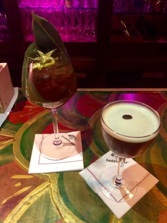 Cocktails at Buddha Bar: Espresso Martini and a Banana & Gin concoction