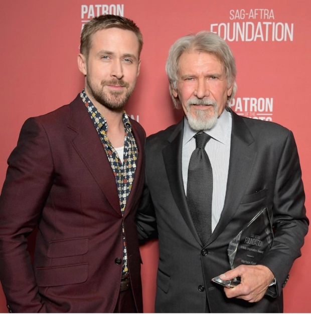 Ryan Gosling and Harrison Ford arrive at the SAG-AFTRA Foundation Patron of the Artists Awards. Photo: Courtesy of SAG-AFTRA Foundation.