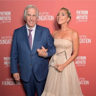Henry Winkler and Lady Gaga arrive at the SAG-AFTRA Foundation Patron of the Artists Awards. Photo: Courtesy of SAG-AFTRA Foundation.