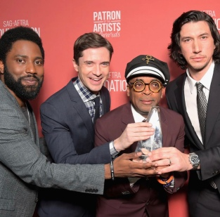 John David Washington, Topher Grace, Spike Lee, and Adam Driver at at the SAG-AFTRA Foundation Patron of the Artists Awards. Photo: Courtesy of SAG-AFTRA Foundation.