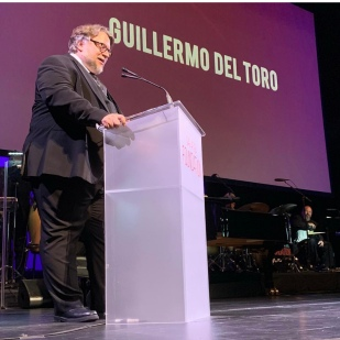 Guillermo del Toro presents the Patron of the Artists Award to Jeffrey Katzenberg at at the SAG-AFTRA Foundation Patron of the Artists Awards