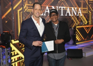 Sr. Director Harold Owens accepting $10,000 from Lantana Media Campus in Santa Monica/Jeff Brown General Mgr. Photo: Brian To