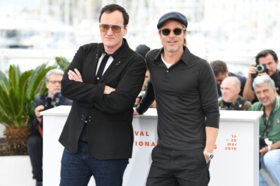 "CANNES, FRANCE - MAY 22: Quentin Tarantino and Brad Pitt attend the photocall for ""Once Upon A Time In Hollywood"" during the 72nd annual Cannes Film Festival on May 22, 2019 in Cannes, France. (Photo by Daniele Venturelli/WireImage)"
