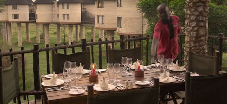 Al fresco meals on the terrace at the Sarova Salt Lick Lodge.
