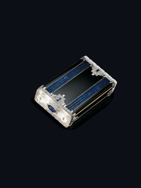 Art Deco lapis lazuli, rock crystal, enamel and diamond vanity case, by Boucheron — 1927