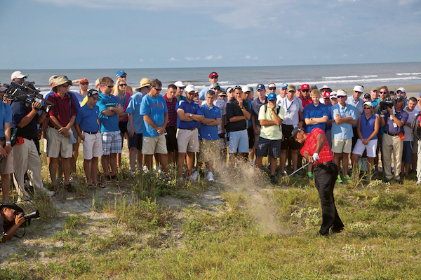 Tiger Woods gets out of a tricky situation, PGA Championship, 2012, KIAWAH ISLAND, USA, Photo © courtesy of Kiawah Island Golf Resort