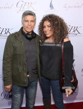 Esai Morales and Diana-Maria Riva (Dead To Me) arriving at the GBK 2020 Golden Globes Lounge. Photo Credit: Getty Images for GBK Productions