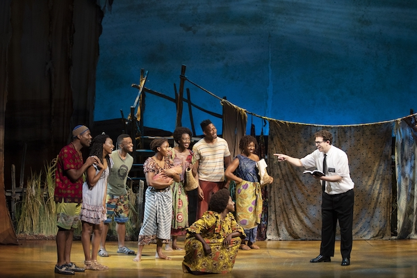 "The company of ""The Book of Mormon."" With book, music and lyrics by Trey Parker, Robert Lopez and Matt Stone, choreographed by Casey Nicholaw, and direction by Nicholaw and Parker, ""The Book of Mormon"" will be presented by Center Theatre Group at the Ahmanson Theatre February 18 through March 29, 2020. For more information, please visit CenterTheatreGroup.org. Press Contact: CTGMedia@CTGLA.org / (213) 972-7376. Photo by Julieta Cervantes."