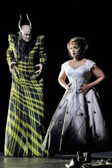 "Barry Banks as Hades and Danielle de Niese as Eurydice in an early rehearsal of Matthew Aucoin's ""Eurydice"" at LA Opera."